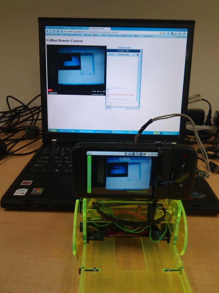 Truckbot watching itself via streaming video